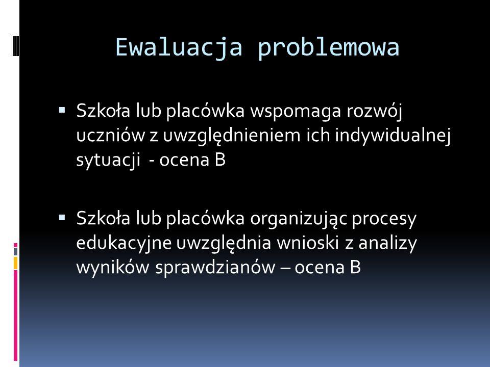 Ewaluacja problemowa Szkoła lub placówka wspomaga rozwój uczniów z uwzględnieniem ich indywidualnej sytuacji - ocena B.