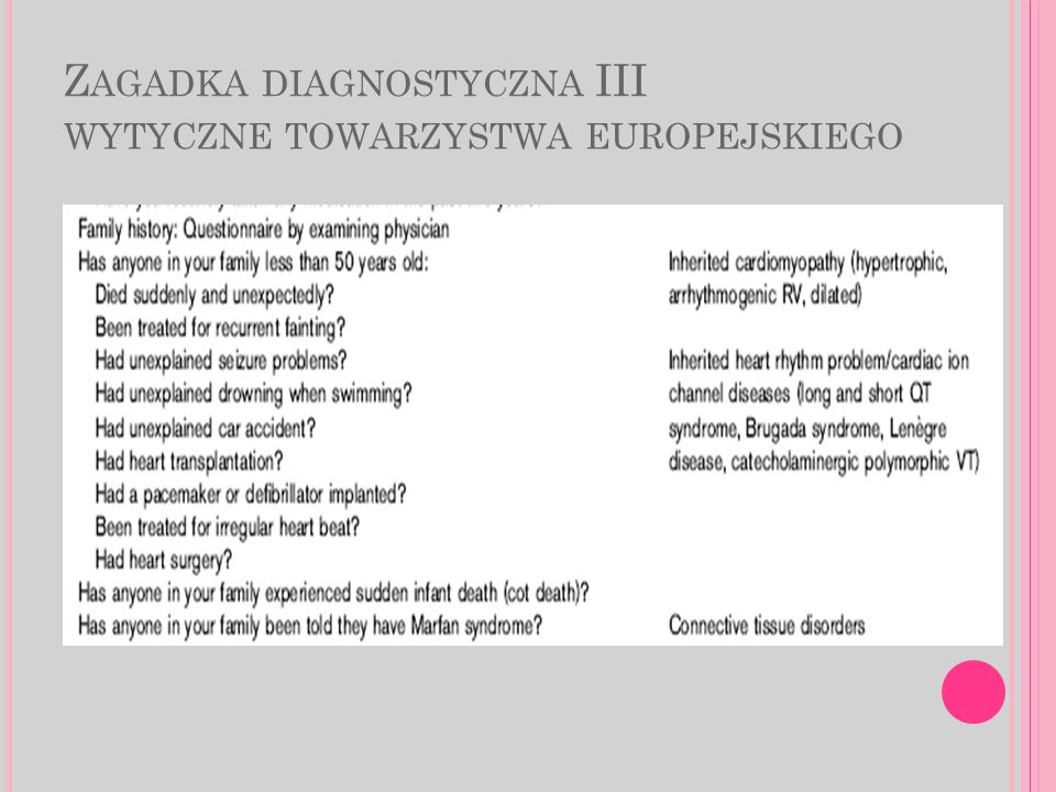 Zagadka diagnostyczna III wytyczne towarzystwa europejskiego