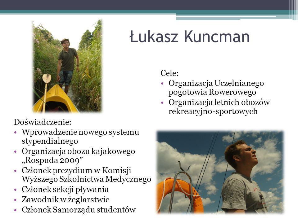Łukasz Kuncman Cele: Organizacja Uczelnianego pogotowia Rowerowego