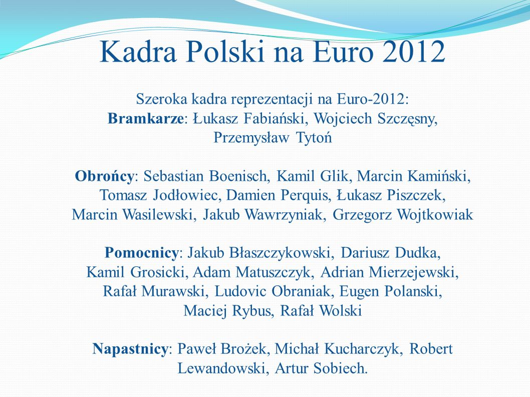 Kadra Polski na Euro 2012 Szeroka kadra reprezentacji na Euro-2012: