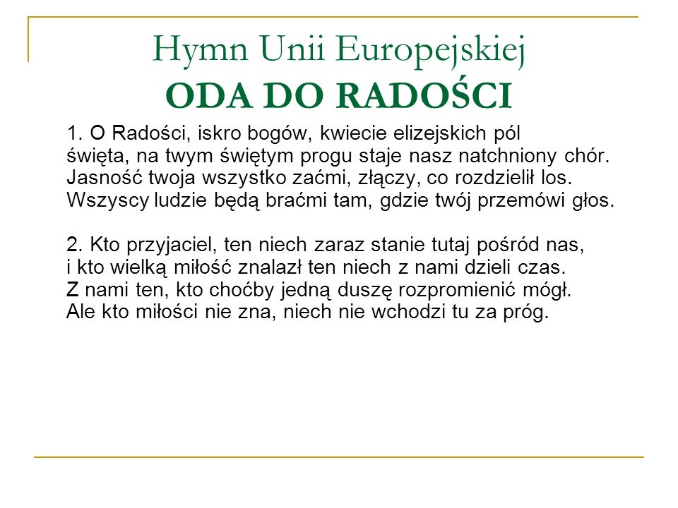 Hymn Unii Europejskiej ODA DO RADOŚCI