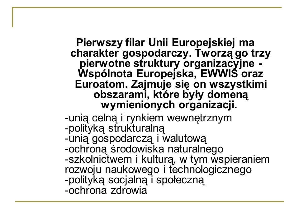 Pierwszy filar Unii Europejskiej ma charakter gospodarczy