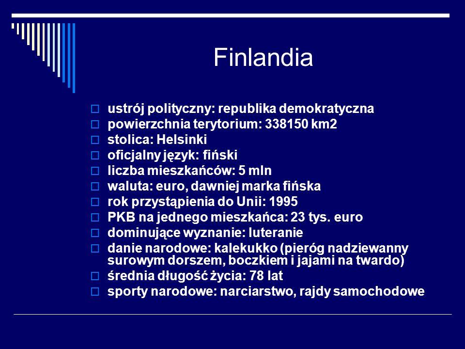 Finlandia ustrój polityczny: republika demokratyczna