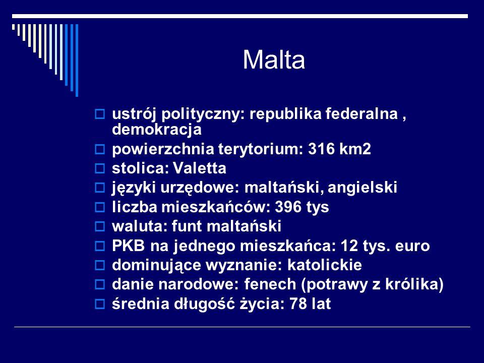 Malta ustrój polityczny: republika federalna , demokracja