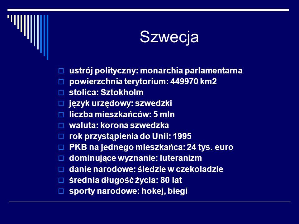 Szwecja ustrój polityczny: monarchia parlamentarna