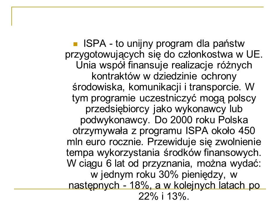 ISPA - to unijny program dla państw przygotowujących się do członkostwa w UE.