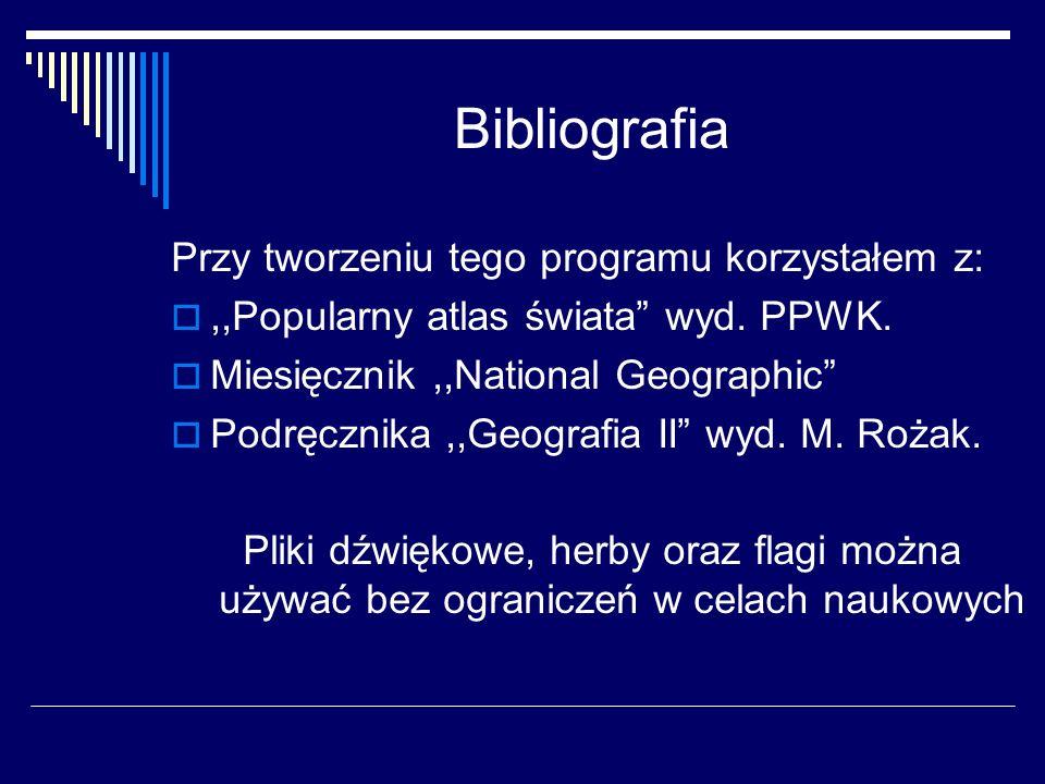 Bibliografia Przy tworzeniu tego programu korzystałem z: