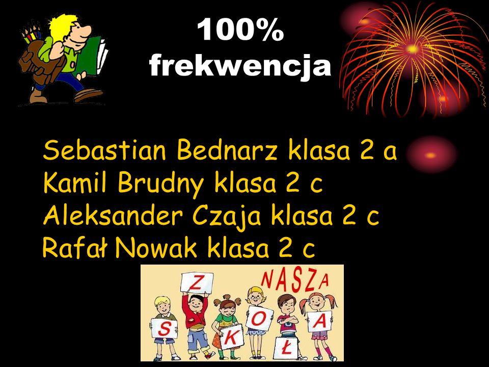 100% frekwencja Sebastian Bednarz klasa 2 a Kamil Brudny klasa 2 c