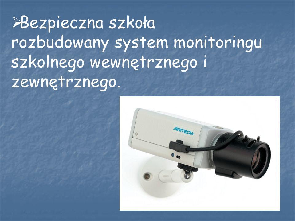 Bezpieczna szkoła rozbudowany system monitoringu szkolnego wewnętrznego i zewnętrznego.