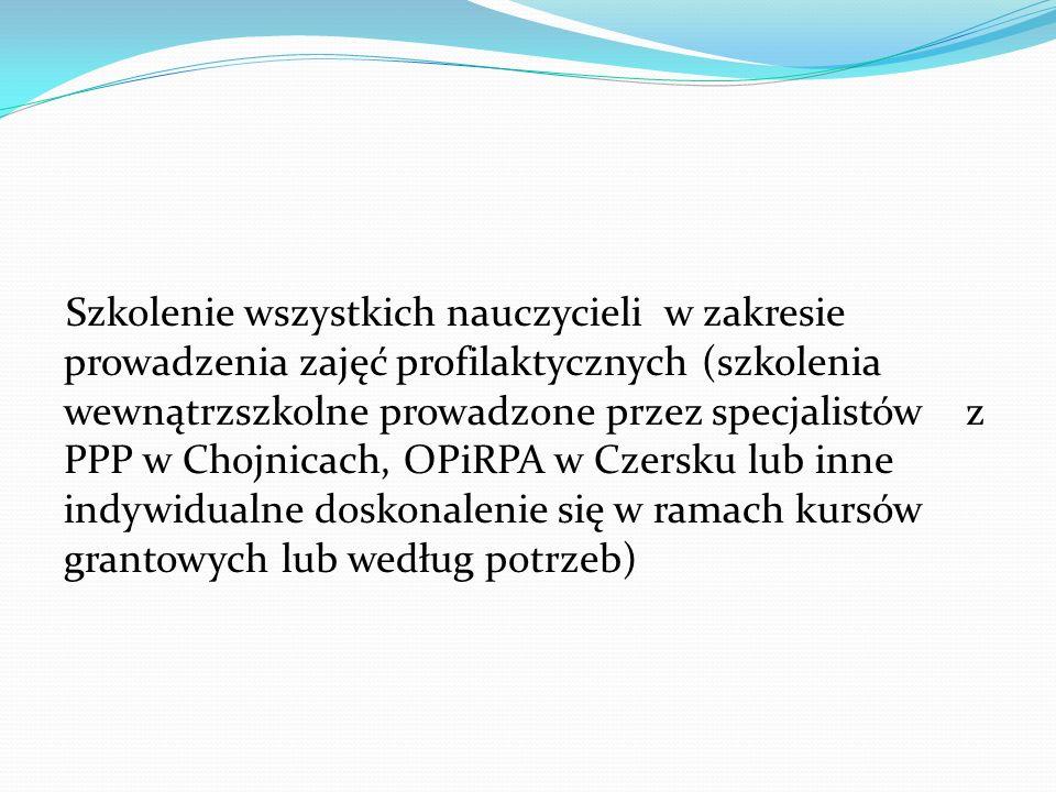 Szkolenie wszystkich nauczycieli w zakresie prowadzenia zajęć profilaktycznych (szkolenia wewnątrzszkolne prowadzone przez specjalistów z PPP w Chojnicach, OPiRPA w Czersku lub inne indywidualne doskonalenie się w ramach kursów grantowych lub według potrzeb)