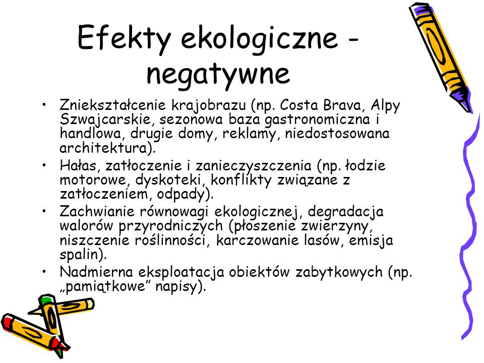 Efekty ekologiczne - negatywne