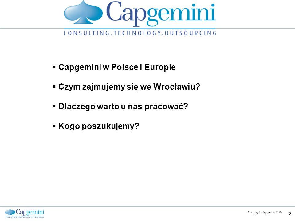 Capgemini w Polsce i Europie Czym zajmujemy się we Wrocławiu