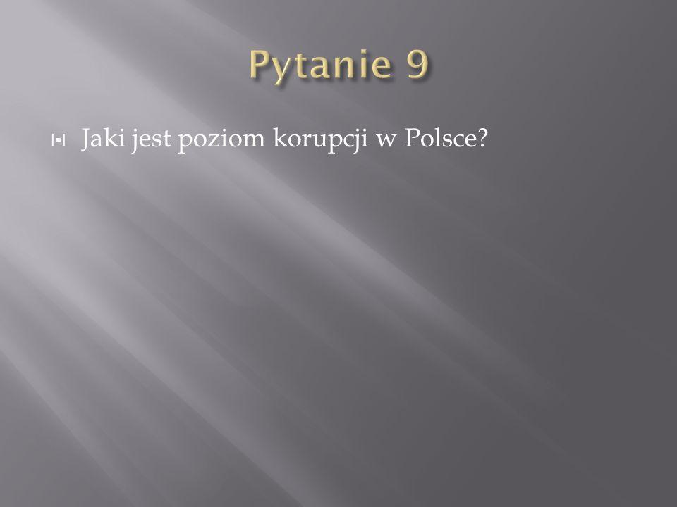 Pytanie 9 Jaki jest poziom korupcji w Polsce