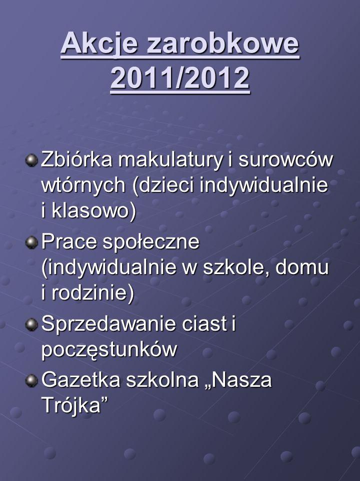 Akcje zarobkowe 2011/2012 Zbiórka makulatury i surowców wtórnych (dzieci indywidualnie i klasowo)