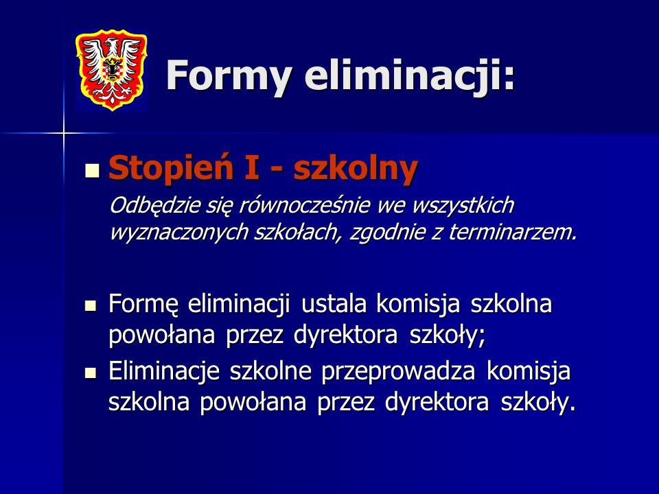 Formy eliminacji: Stopień I - szkolny