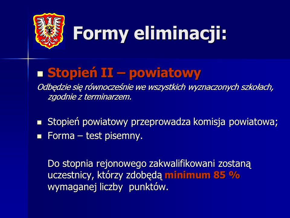 Formy eliminacji: Stopień II – powiatowy