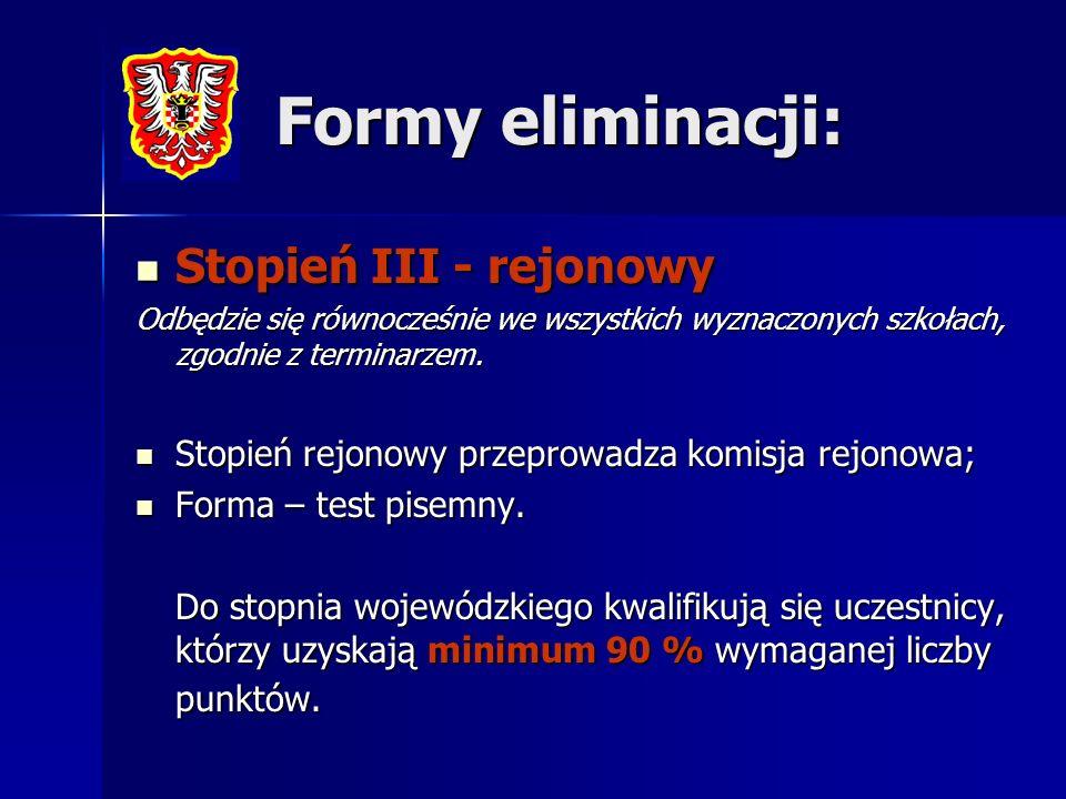 Formy eliminacji: Stopień III - rejonowy
