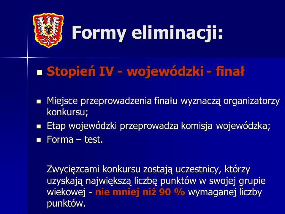 Formy eliminacji: Stopień IV - wojewódzki - finał