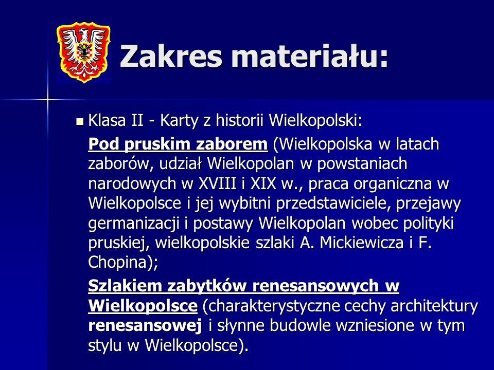Zakres materiału: Klasa II - Karty z historii Wielkopolski: