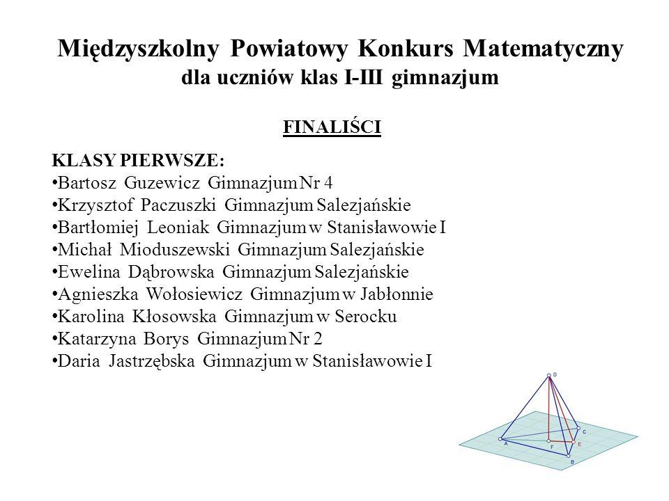 Międzyszkolny Powiatowy Konkurs Matematyczny dla uczniów klas I-III gimnazjum