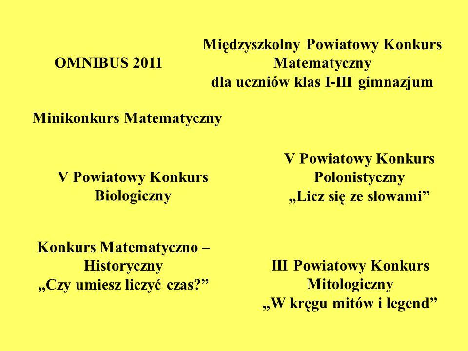 Międzyszkolny Powiatowy Konkurs Matematyczny
