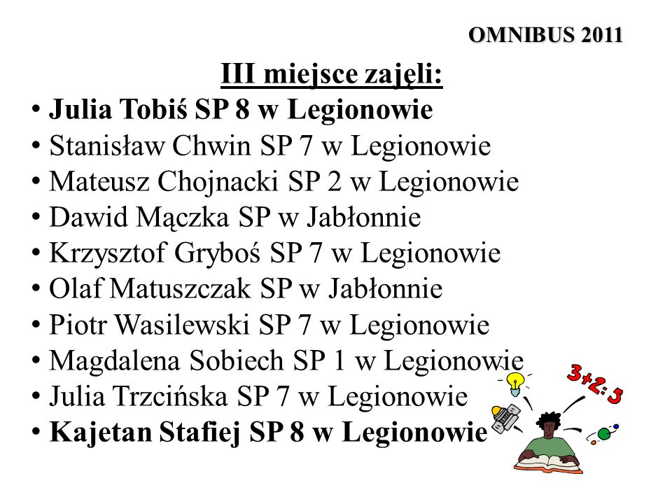 Julia Tobiś SP 8 w Legionowie Stanisław Chwin SP 7 w Legionowie