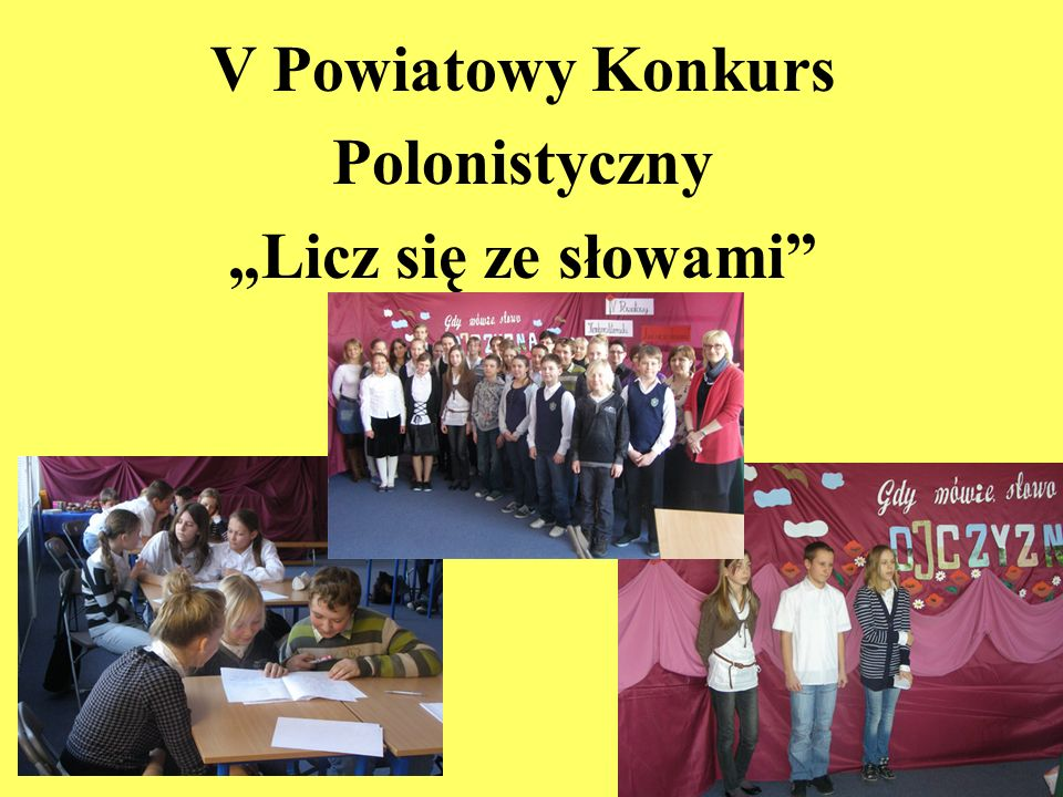 """V Powiatowy Konkurs Polonistyczny """"Licz się ze słowami"""