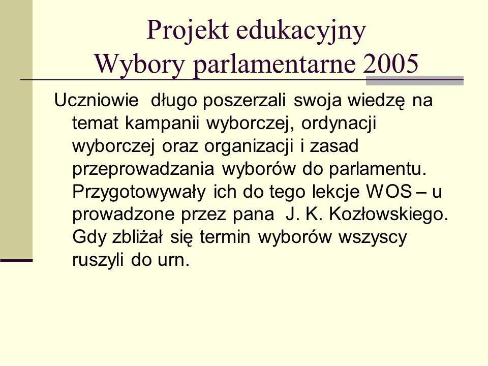 Projekt edukacyjny Wybory parlamentarne 2005