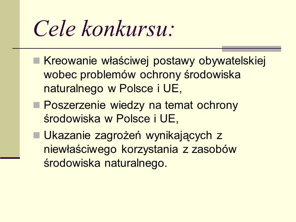 Cele konkursu: Kreowanie właściwej postawy obywatelskiej wobec problemów ochrony środowiska naturalnego w Polsce i UE,