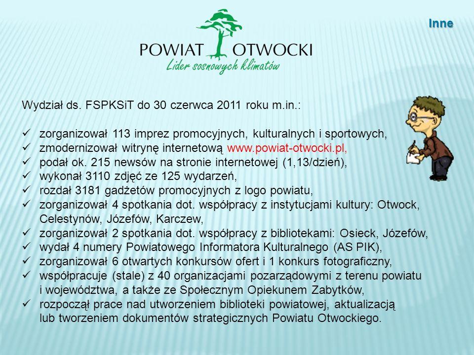 Inne Wydział ds. FSPKSiT do 30 czerwca 2011 roku m.in.: zorganizował 113 imprez promocyjnych, kulturalnych i sportowych,