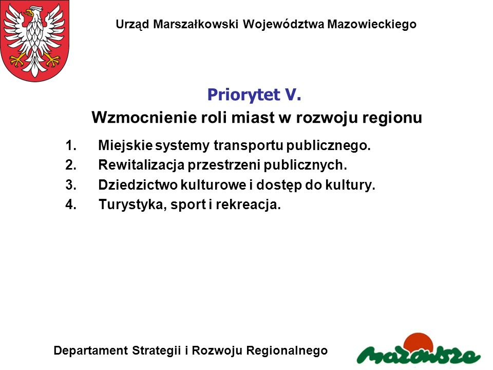 Priorytet V. Wzmocnienie roli miast w rozwoju regionu