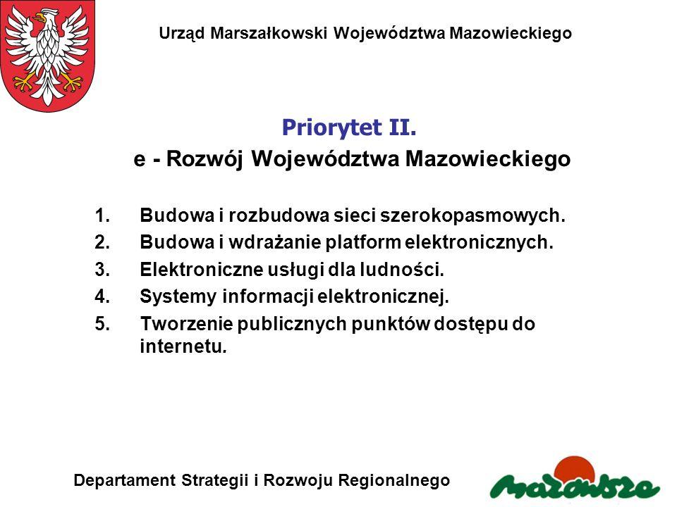 Priorytet II. e - Rozwój Województwa Mazowieckiego