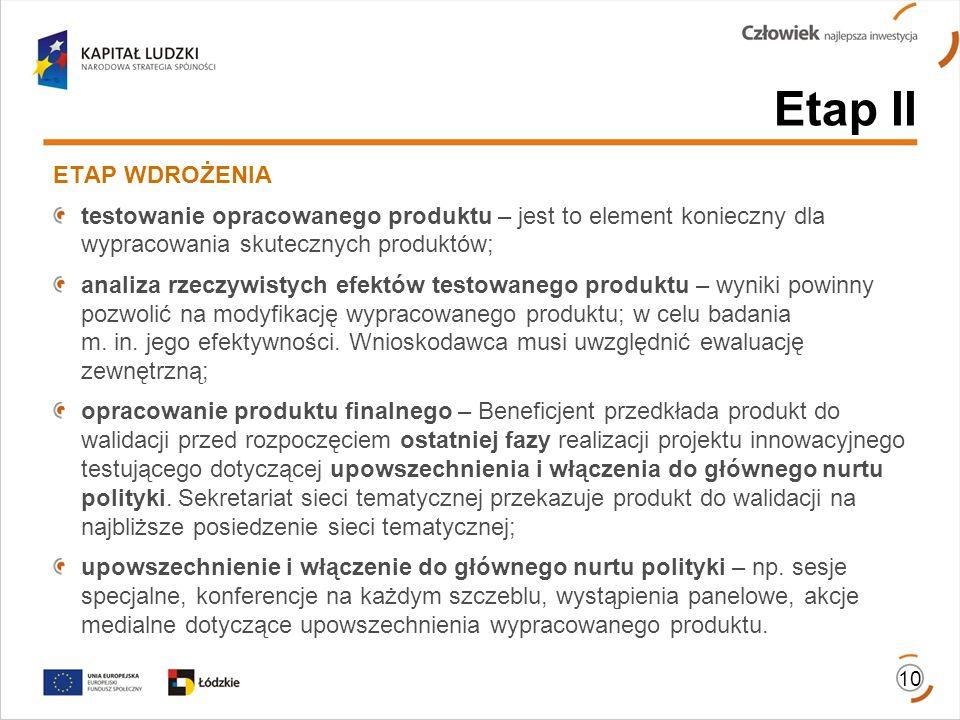 Etap II ETAP WDROŻENIA. testowanie opracowanego produktu – jest to element konieczny dla wypracowania skutecznych produktów;