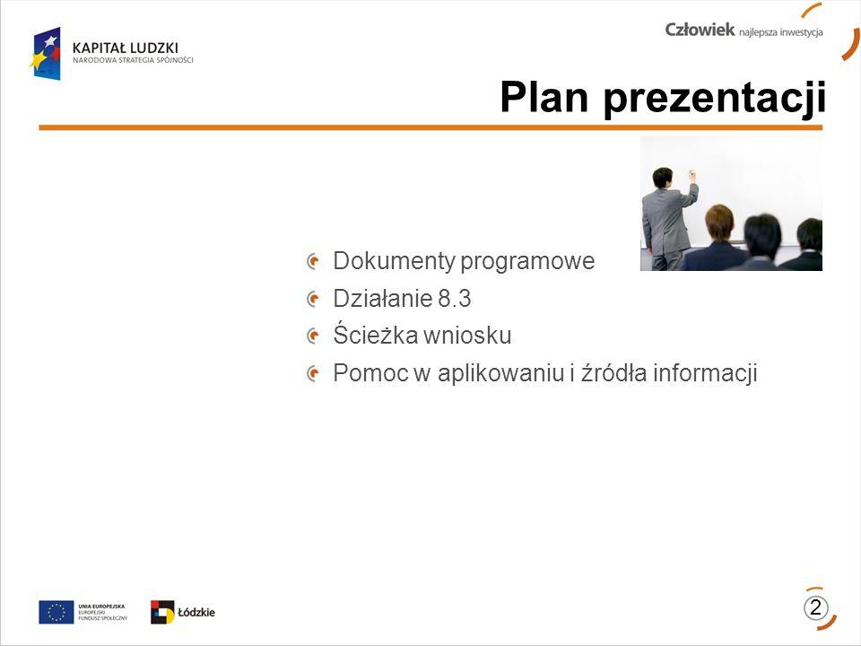 Plan prezentacji Dokumenty programowe Działanie 8.3 Ścieżka wniosku