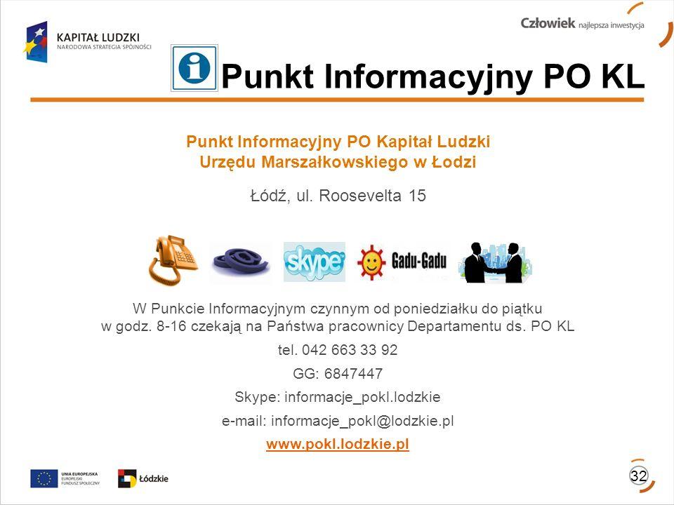 Punkt Informacyjny PO Kapitał Ludzki Urzędu Marszałkowskiego w Łodzi