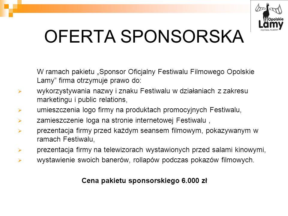 Cena pakietu sponsorskiego 6.000 zł