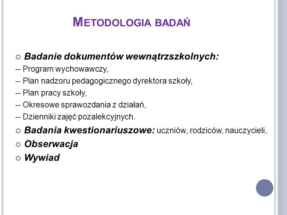 Metodologia badań Badanie dokumentów wewnątrzszkolnych: