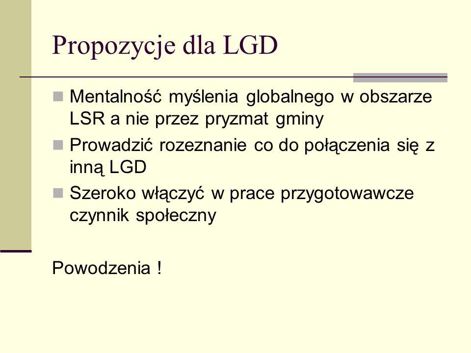Propozycje dla LGD Mentalność myślenia globalnego w obszarze LSR a nie przez pryzmat gminy. Prowadzić rozeznanie co do połączenia się z inną LGD.