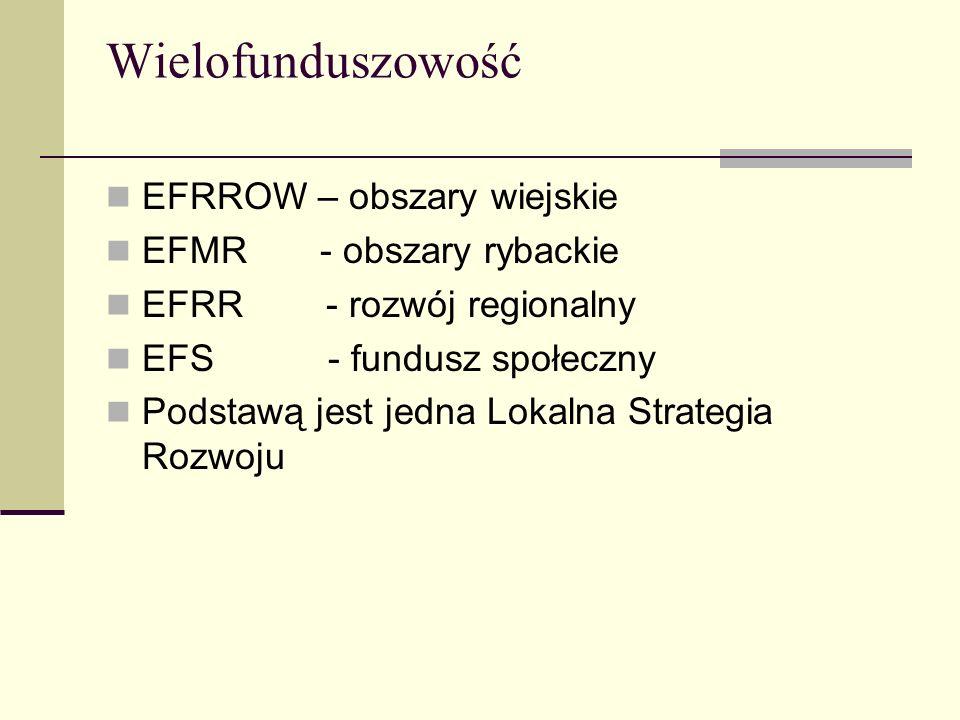 Wielofunduszowość EFRROW – obszary wiejskie EFMR - obszary rybackie