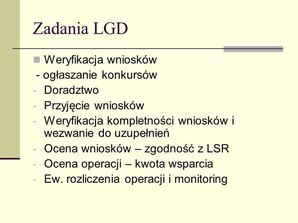 Zadania LGD Weryfikacja wniosków - ogłaszanie konkursów Doradztwo
