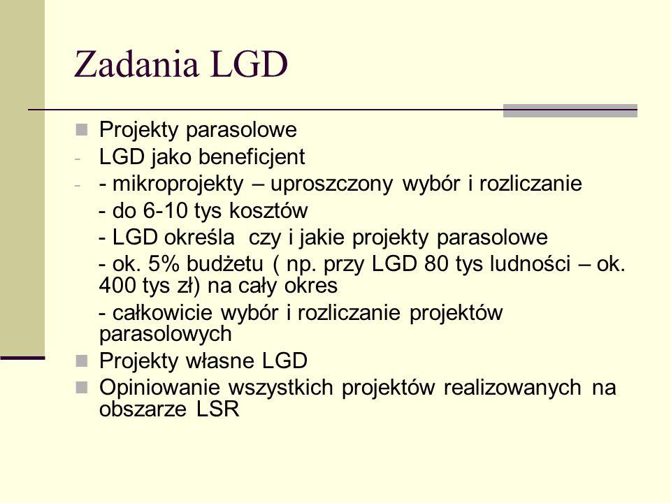 Zadania LGD Projekty parasolowe LGD jako beneficjent