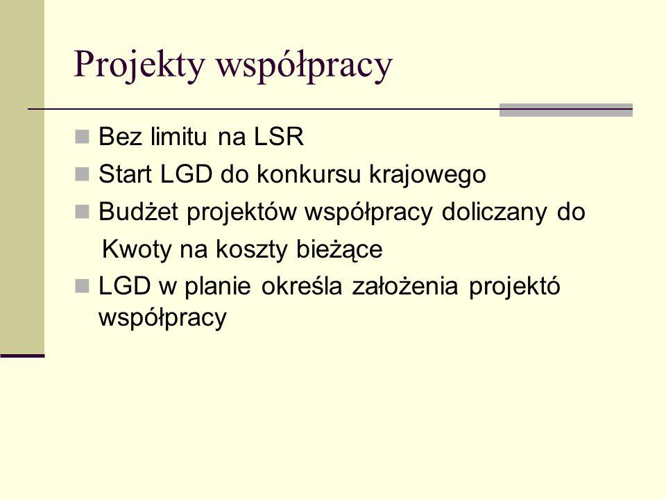 Projekty współpracy Bez limitu na LSR Start LGD do konkursu krajowego