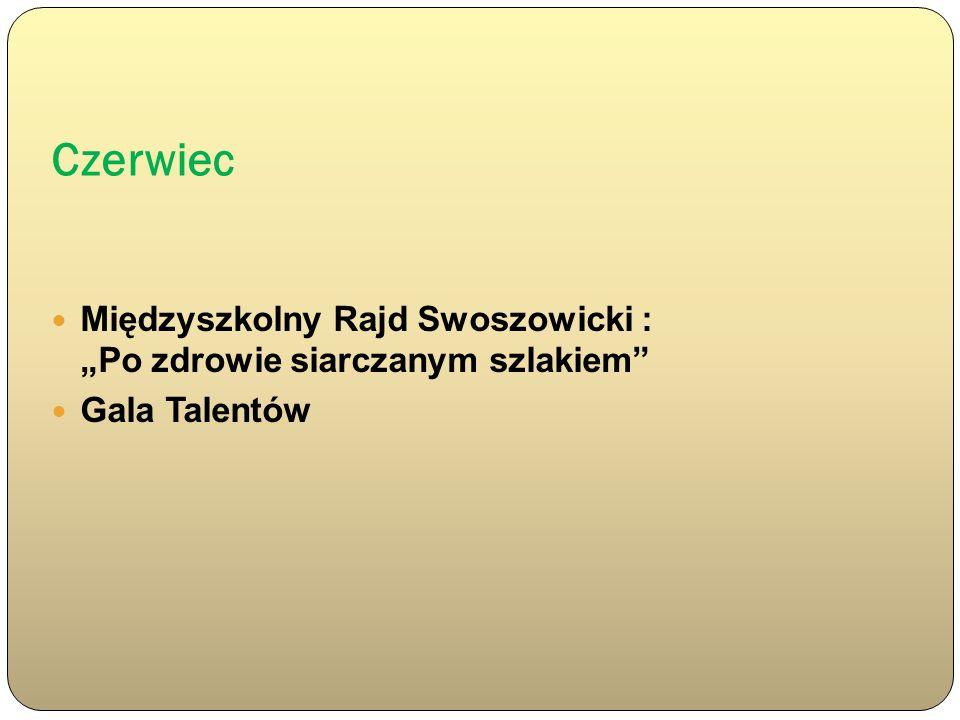 """Czerwiec Międzyszkolny Rajd Swoszowicki : """"Po zdrowie siarczanym szlakiem Gala Talentów"""