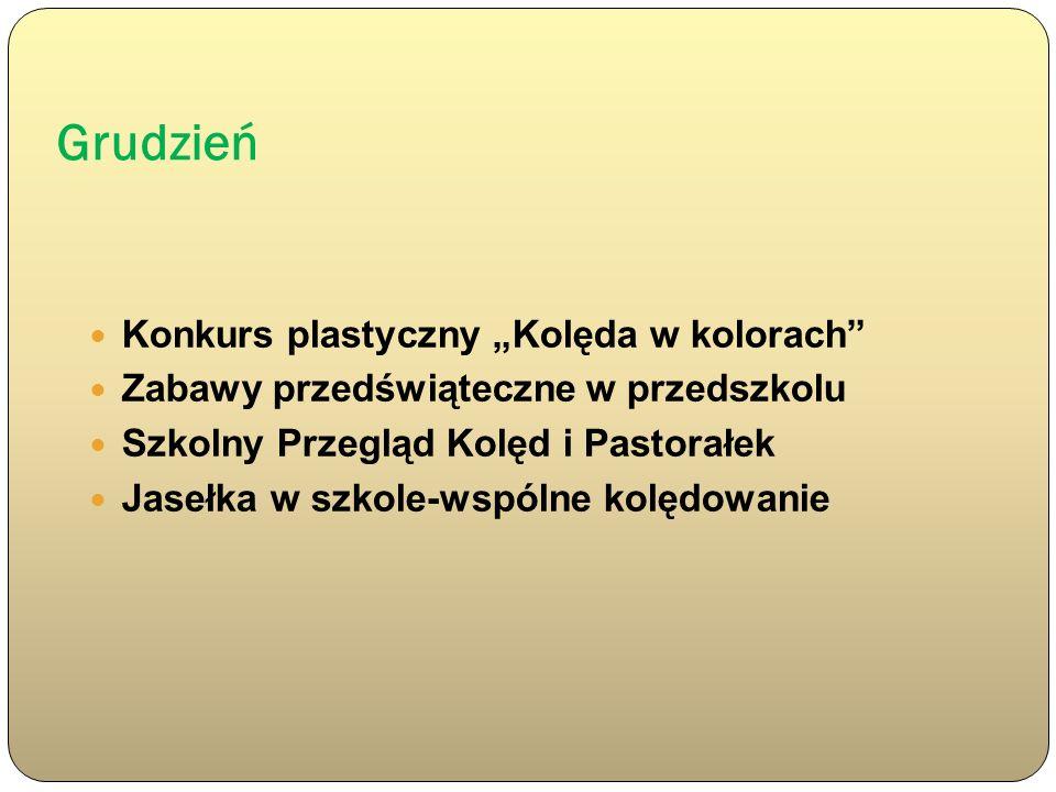 """Grudzień Konkurs plastyczny """"Kolęda w kolorach"""