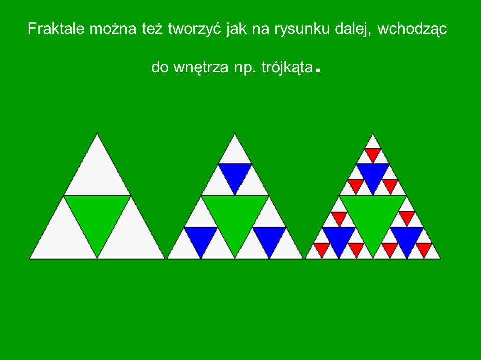 Fraktale można też tworzyć jak na rysunku dalej, wchodząc do wnętrza np. trójkąta.
