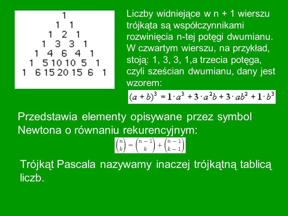 Trójkąt Pascala nazywamy inaczej trójkątną tablicą liczb.