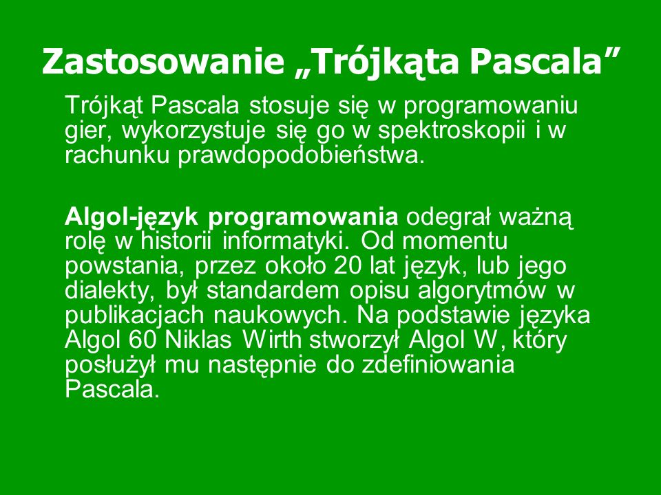 """Zastosowanie """"Trójkąta Pascala"""