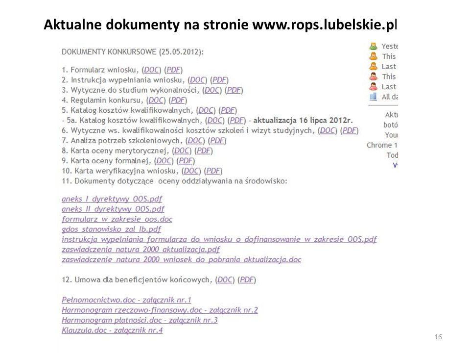 Aktualne dokumenty na stronie www.rops.lubelskie.pl