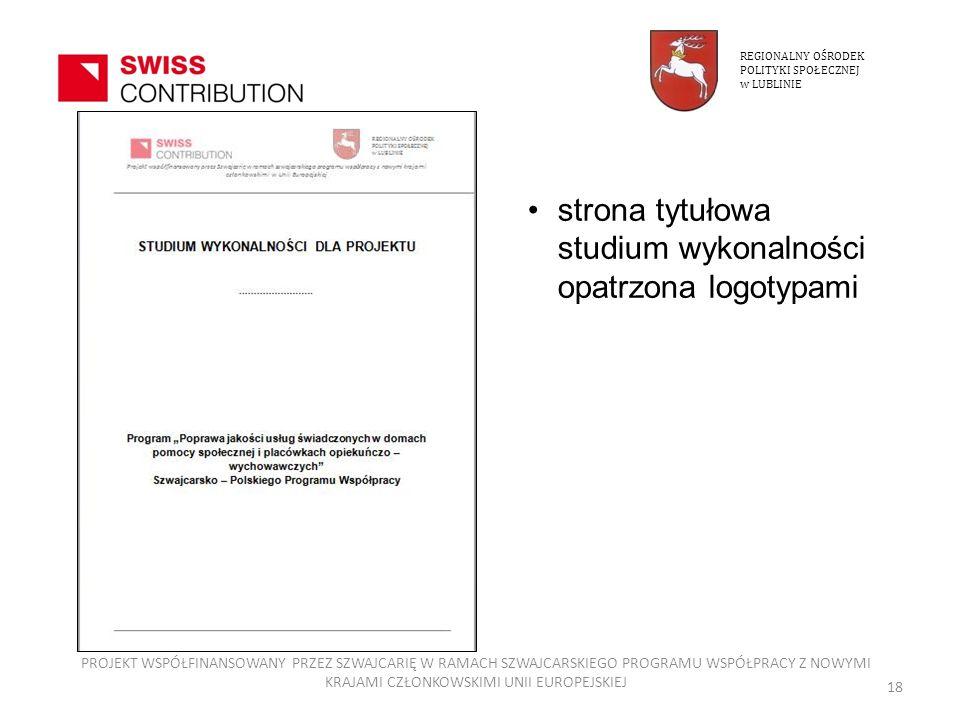 strona tytułowa studium wykonalności opatrzona logotypami