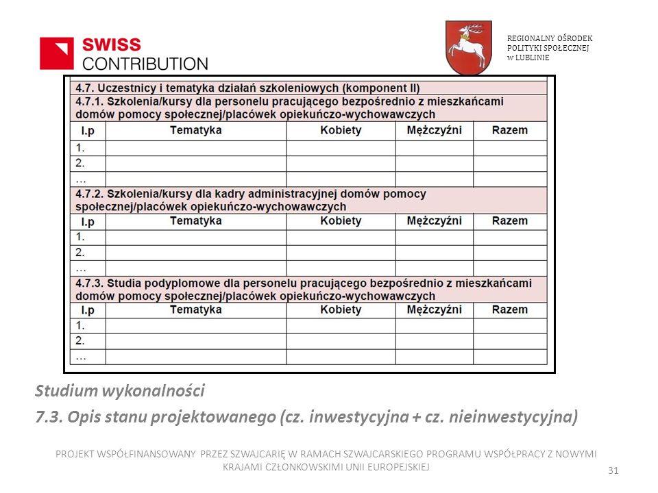REGIONALNY OŚRODEK POLITYKI SPOŁECZNEJ. w LUBLINIE. Studium wykonalności. 7.3. Opis stanu projektowanego (cz. inwestycyjna + cz. nieinwestycyjna)